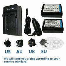 2X NP-FW50 NPFW50 Li-ion Battery+charger for Sony NEX-5 NEX-C3 SLT-A55 SLT-A33