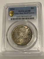 1834 - Capped Bust - 50C - Half Dollar - PCGS AU58 - Large Date, Small Letters