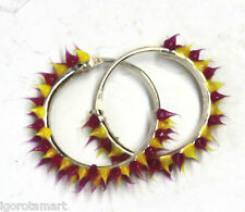 Unique Pair Cones Rubber Hinged Sleeper Hoop Loops Earrings Clip-on Mixed Color