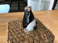 Murano unmarked Vintage Art Glass  Penguin Black White Heavy - Paperweight -
