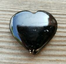 NATURAL BLACK TOURMALINE GEMSTONE PUFFY HEART 30-35mm