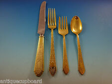 Mary II Gold by Lunt Sterling Silver Flatware Set For 12 Service 48 Pcs Vermeil