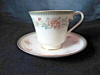 Minton Jasmine Royal Doulton Footed Cup Saucer Set Gold Trim Peach White Floral