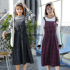 Retro Womens Plaids Drawstring Overall Jumper Tunic Vest Suspender Skirt Dress