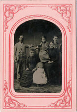 1/4 PLATE ANTIQUE TINTYPE PHOTO PORTRAIT OF FAMILY WITH CHILDREN