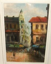 PARIS MARKET STREET SCENE OIL ON CANVAS PAINTING SIGNED AND DATED 1974