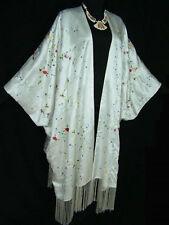 Silk Kimono Caftan Duster Coat White Embroidered 5x New Maya Boutique
