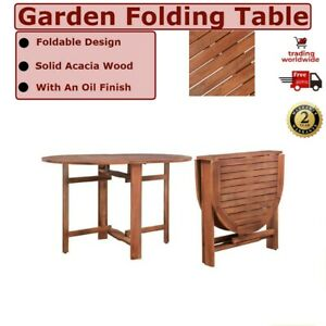 Garden Table 120x70x74 cm Wooden Folding Solid Acacia Wood UK Outdoor Furniture