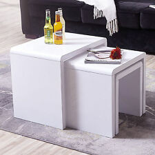 DESIGNER High Gloss White Coffee Table With Tempered Glass Living Room