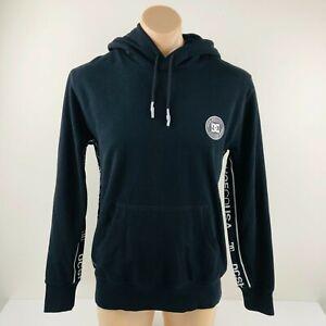 DC Shoes Hoodie Jumper Jacket Logo Tape Astrak Black Mens Medium NEW Pullover