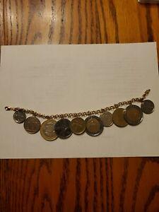 "14k italian 10 coin bracelet 8"" Genuine"