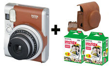 Fujifilm Fuji Instax Mini 90 NEO Camera Brown + 40 Shots + Vintage Black Case