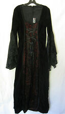 *Lip Service HT Black/Red Velvet Bell Sleeve Full Gown Witch Gothic Victorian L