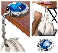 Handtaschenhalter Taschenhalter Handtaschen Butler mit farbigem Glas-Stein blau