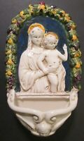Vintage MADONNA & CHILD WALL HANGING HOLY WATER FONT ~ Architectural Salvage