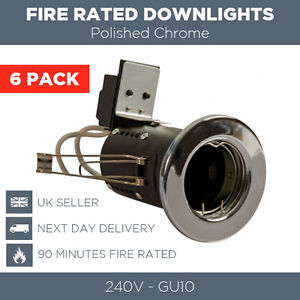 6 X CHROME FIRE RATED DOWNLIGHTS MAINS GU10 SPOTLIGHTS RECESSED CEILING LIGHTS
