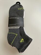 New Quiksilver Designer Mens Surfer Logo Street 5 Pack Quarter Cut Socks Mixed