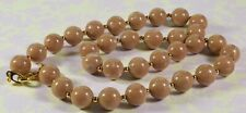 Lovely Vintage Joan Rivers Faux Coffee Brown Marbled Agate Necklace