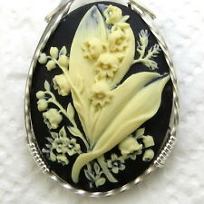 Lily Of The Valley Flower Cameo Pendant 925 Sterling Silver Jewelry Black Resin