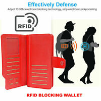 Ladies RFID Scan Protected Wallet Large Capacity 100% Genuine Soft Leather Purse
