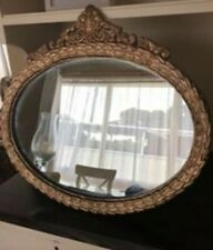 Vintage Gold Oval Plaster Carved Wall Hanging Mirror With Heavy Chain
