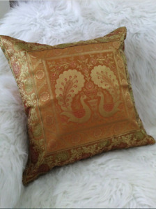 Pillow Covers Floral Silk Brocade Peacock Blue / Gold from India