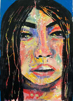 Outsider Art Woman Portrait Painting Katie Jeanne Wood