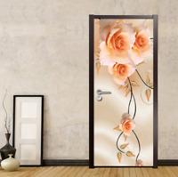 Self-adhesive 3D Warm Roses Flowers Door Murals Stickers Wallpaper Bedroom Decor