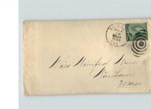 STOCKTON? California 1889 cancel with bullseye cancel, sent to Wauham? Massachus