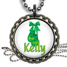 Personalized Irish Dance Shoes & Bow Bottle Cap Necklace & Chain Handcrafted