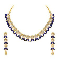 Blue Choker Indian Bollywood Fashion Gold Plated Wedding Jewelry Necklace Set