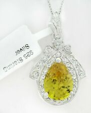 YELLOW TOPAZ  9.30 Cts  & WHITE SAPPHIRES PENDANT NECKLACE .925 Sterling Silver