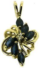 New 9ct 9Carat yellow gold diamond sapphire swirl pendant blue marquise stones