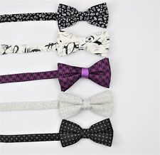 SET OF 5 Mens Classic Fashion Pre-Tied Bow Tie 100% Cotton  Polyester  Linen #2