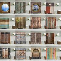 3D Waterproof Fabric Rustic Wood Shower Curtain Liner Bathroom Accessories Hooks
