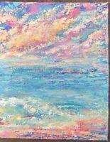 GLISTENING BEACH Original Acrylic Abstract Ocean Landscape Knife Painting 16x20