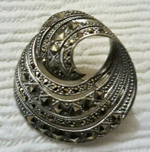 "925 Sterling Silver Marcasite Large Brooch Round Spiral Swirl Diam 30mm  1.1/4"""