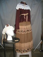 Victorian Dress Womens Edwardian Costume Civil War Style with Hat
