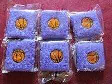 Set of 6 Youth Purple Basketball Terry Cotton Sweat Wristband Cuffs