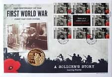 First Day Coin Cover WW1 Coin & Stamps Collection World War One – Leaving Family