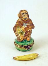 New French Limoges Trinket Box Cute Chimpanzee Monkey Animal w Removable Banana