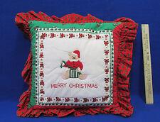 Handmade Merry Christmas Throw Pillow Decor Red Green w/ Teddy Bear Festive