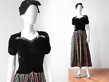 Vintage 1940's Black Silk Velvet and Tartan Silk Taffeta Dress Ribbon Striped