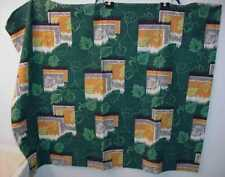 VINTAGE GREEN FLORAL COTTON TWILL OR BARKCLOTH PANEL