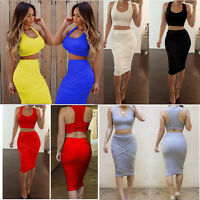 Sexy Women Two Piece Bandage Bodycon Crop Top Midi Skirt Party Cocktail Dress
