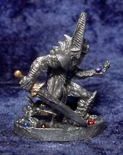 Pewter Kneeling KNIGHT/Warrior accented with Colorful Crystals