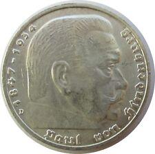 Troisième Reich 5 Reichsmark 1938 D, Hindenburg, avec HK, argent