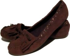 NEW Leather LEI Moccasins Flats Chocolate Deer Brown Suede 9.5 Studded Fallon