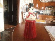 vintage snowman clothing brush with black top hat winter/christmas decor.