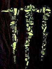 Original Monster Energy Drink Huge Neon Logo Men's BMX, Skate HIP Hop T-shirt L